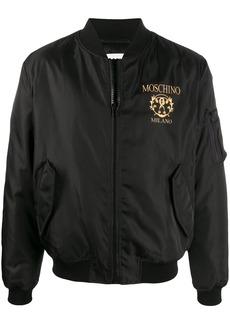 Moschino logo print bomber jacket