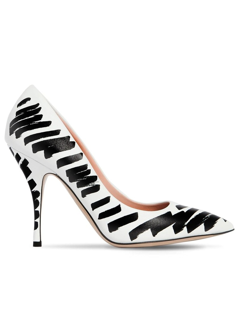Moschino 100mm Brush Strokes Leather Pumps