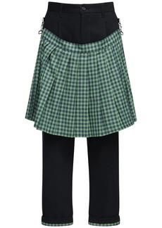 Moschino 18cm Cotton Gabardine Pants W/ Check