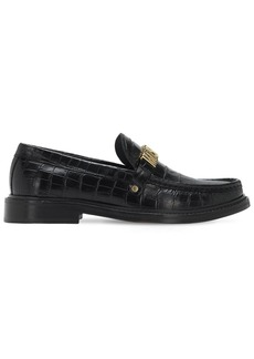 Moschino 25mm Logo Croc Embossed Leather Loafers