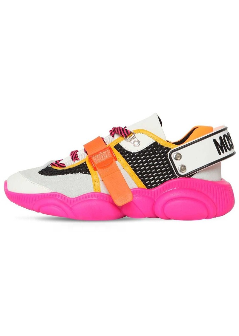 Moschino 30mm Mesh & Suede Sneakers