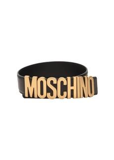 Moschino 35mm Gold Logo Leather Belt