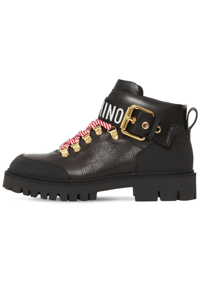 Moschino 40mm Leather Ankle Trekking Boots
