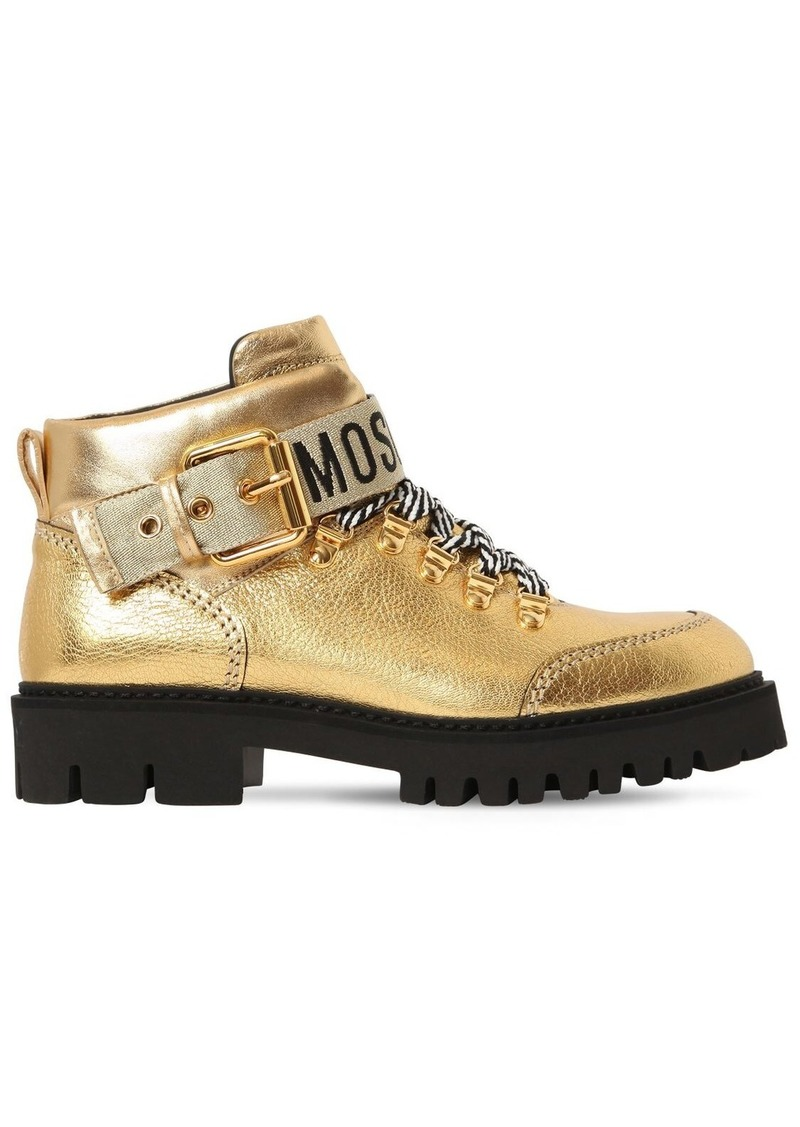Moschino 40mm Metallic Leather Ankle Boots