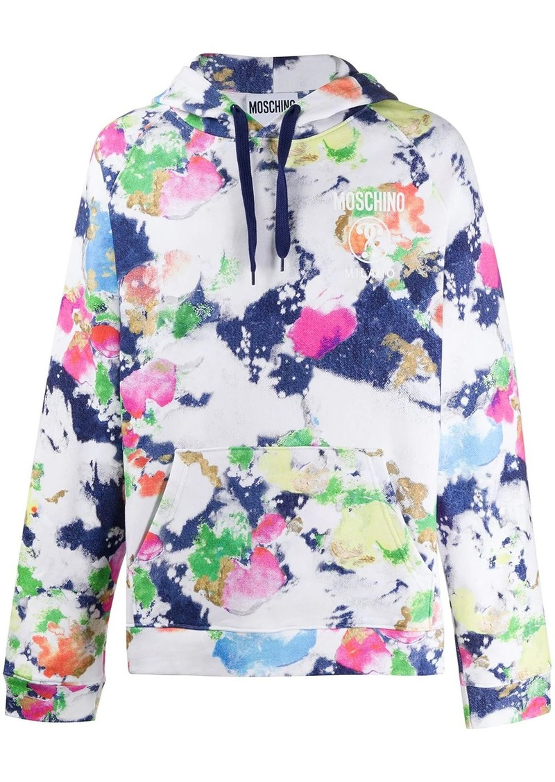 Moschino abstract paint print hoodie