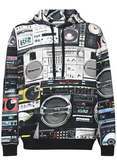Moschino All Over Radio Print Cotton Hoodie