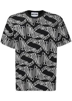 Moschino Allover Logo Print Over Cotton T-shirt
