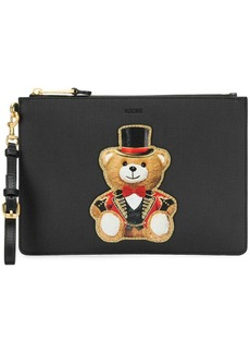 Moschino appliqué circus bear clutch