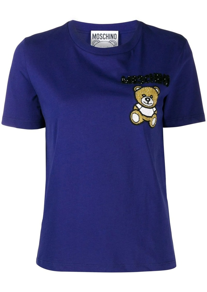 Moschino beaded teddy bear patch T-shirt