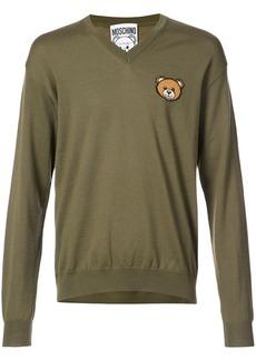 Moschino bear crest v-neck sweater
