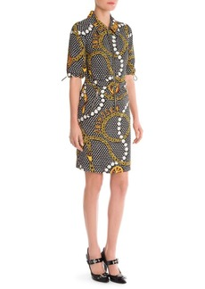 Moschino Belted Chain-Print Shirtdress