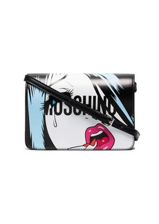 Moschino Black cartoon face leather cross body bag
