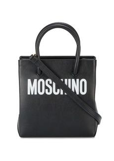 Moschino Black logo print leather tote bag