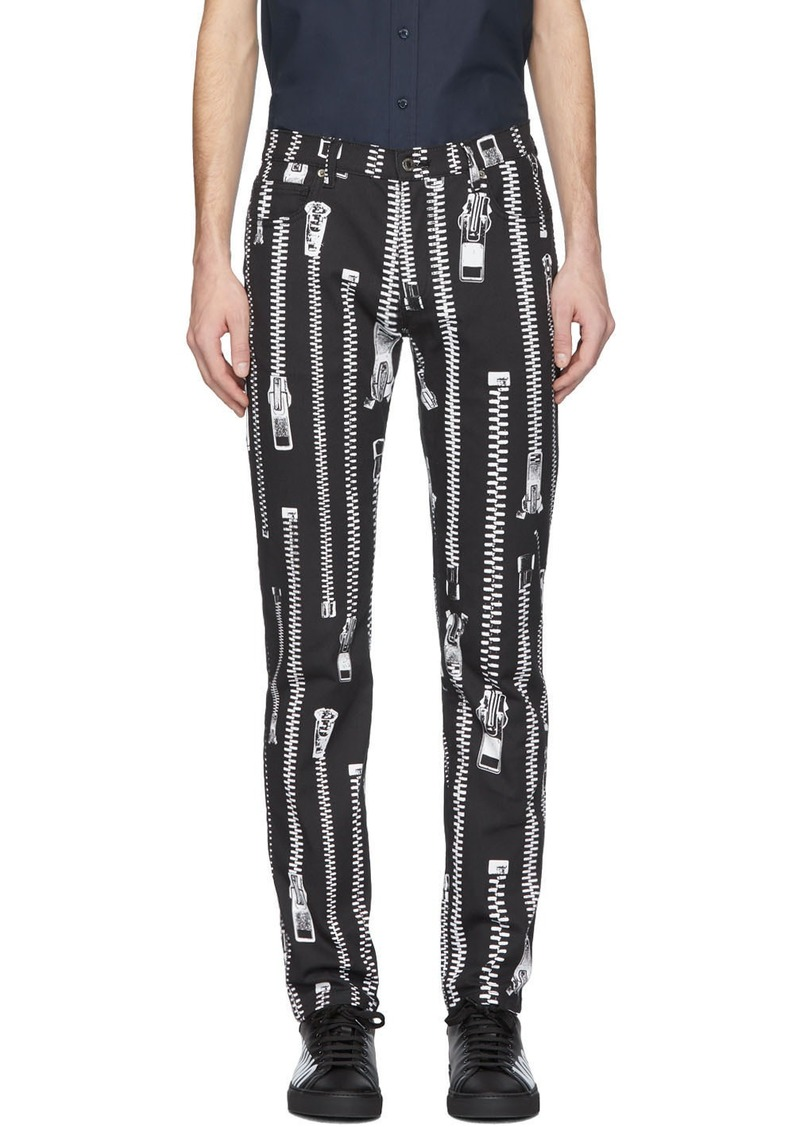 Moschino Black Zipper Trousers
