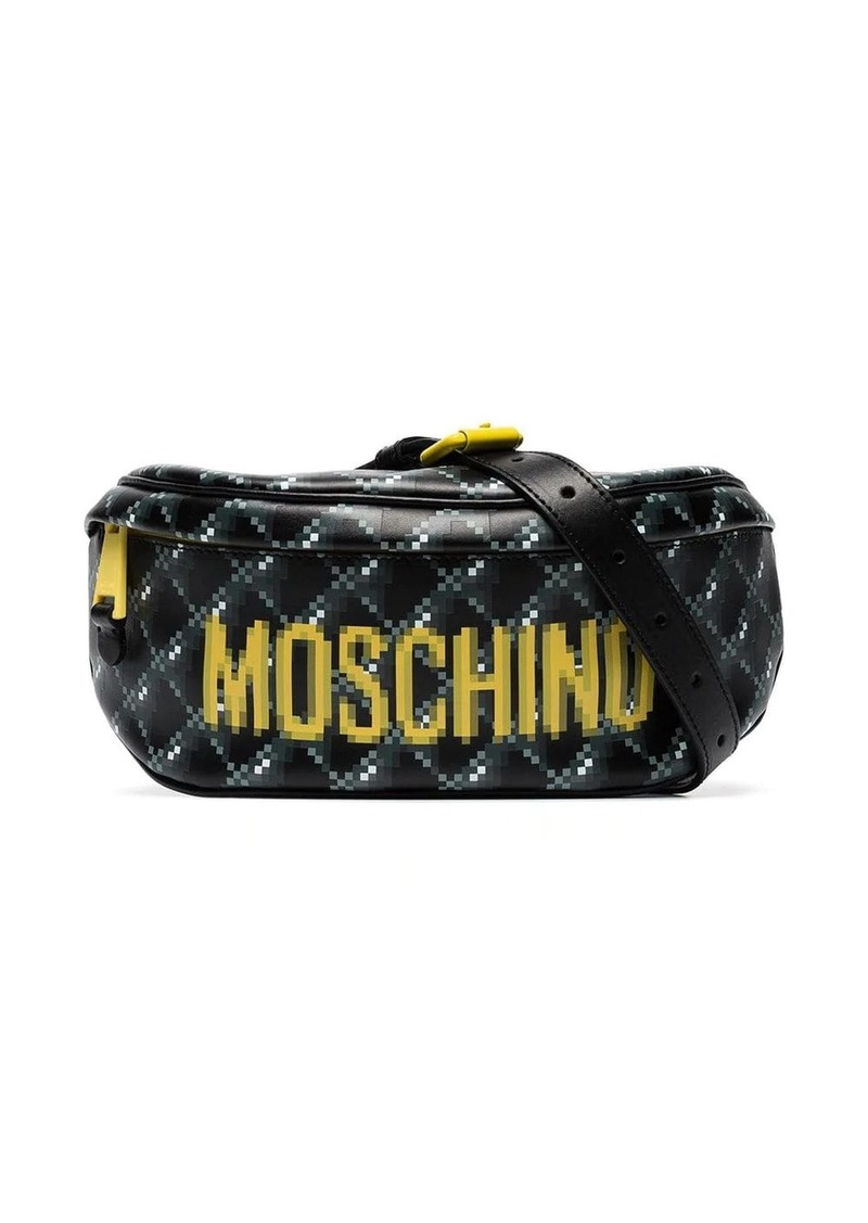 Moschino blurred logo print belt bag