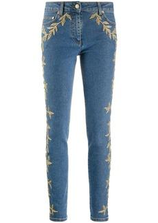 Moschino brocade-detail skinny jeans