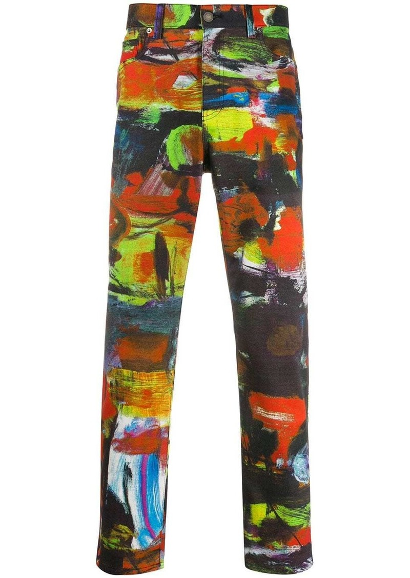 Moschino brush stroke print trousers