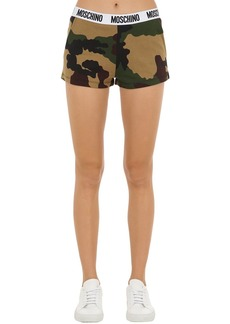 Moschino Camouflage Cotton Sweat Shorts