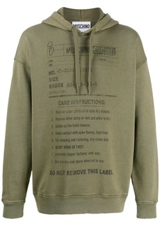Moschino care label print hoodie