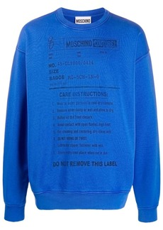Moschino care label print sweatshirt