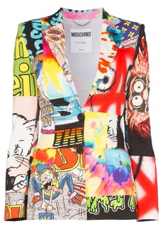 Moschino cartoon print patchwork blazer