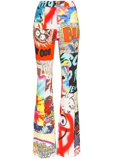 Moschino cartoon print patchwork flared trousers