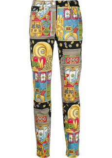 Moschino casino print slim-fit trousers