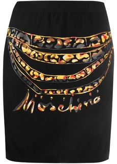 Moschino chain-print fitted mini-skirt