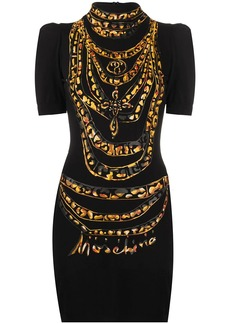 Moschino chain-print puff-sleeve dress