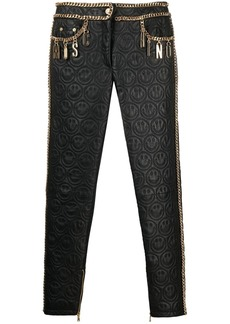 Moschino chain-trim leather trousers