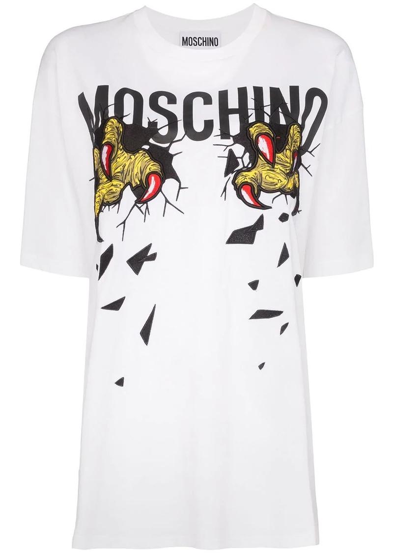 Moschino claw motif logo print T-shirt