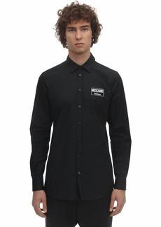 Moschino Cotton Poplin Shirt W/ Logo Patch