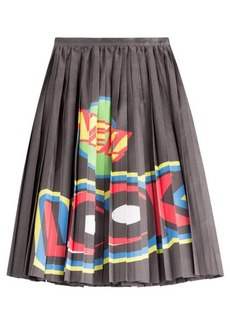 Moschino Cotton/Silk Pleated Skirt with Print