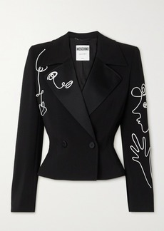 Moschino Cropped Double-breasted Satin-trimmed Piped Crepe Blazer