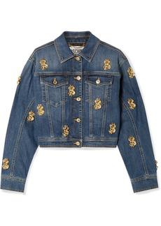 Moschino Cropped Embellished Denim Jacket