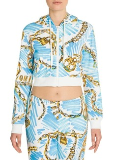 Moschino Cropped Zip Front Graphic Hoodie