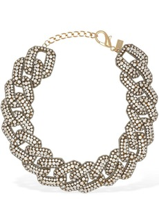 Moschino Crystal Embellished Chain Necklace