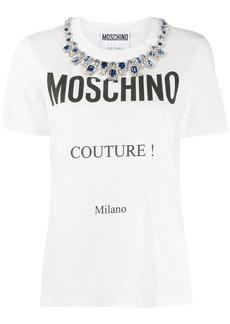 Moschino crystal-embellished logo-print T-shirt