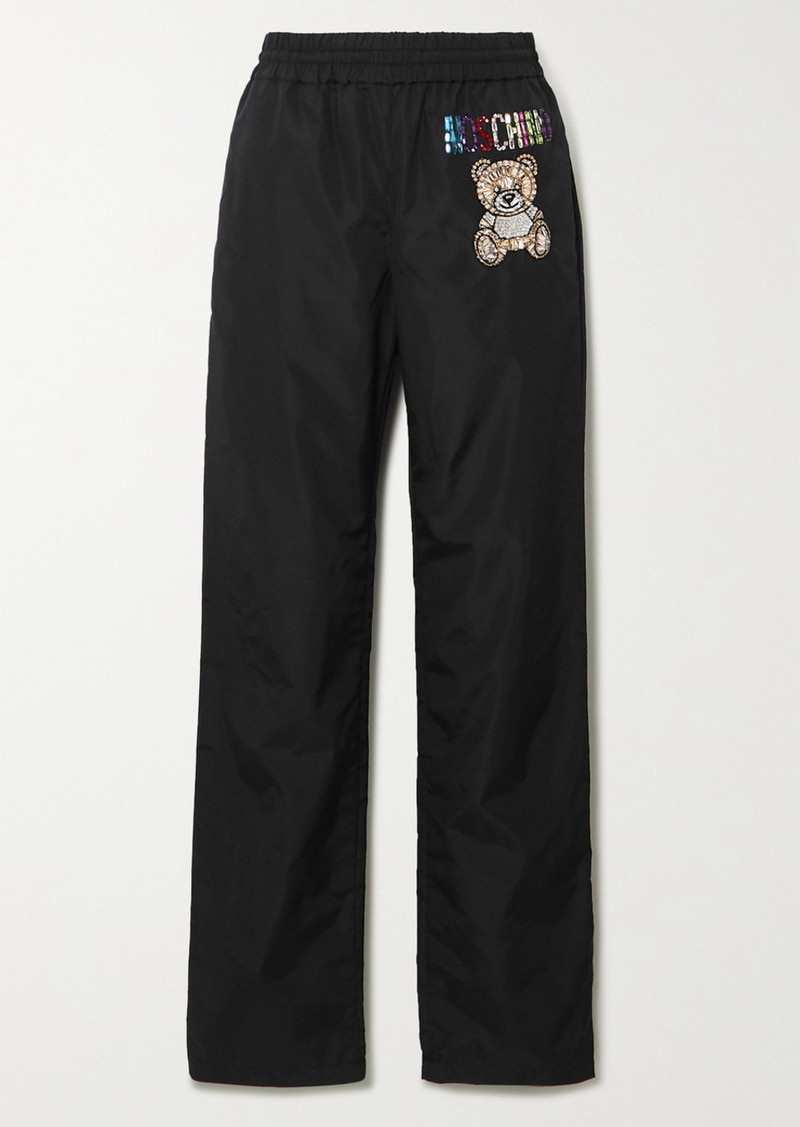 Moschino Crystal-embellished Shell Track Pants