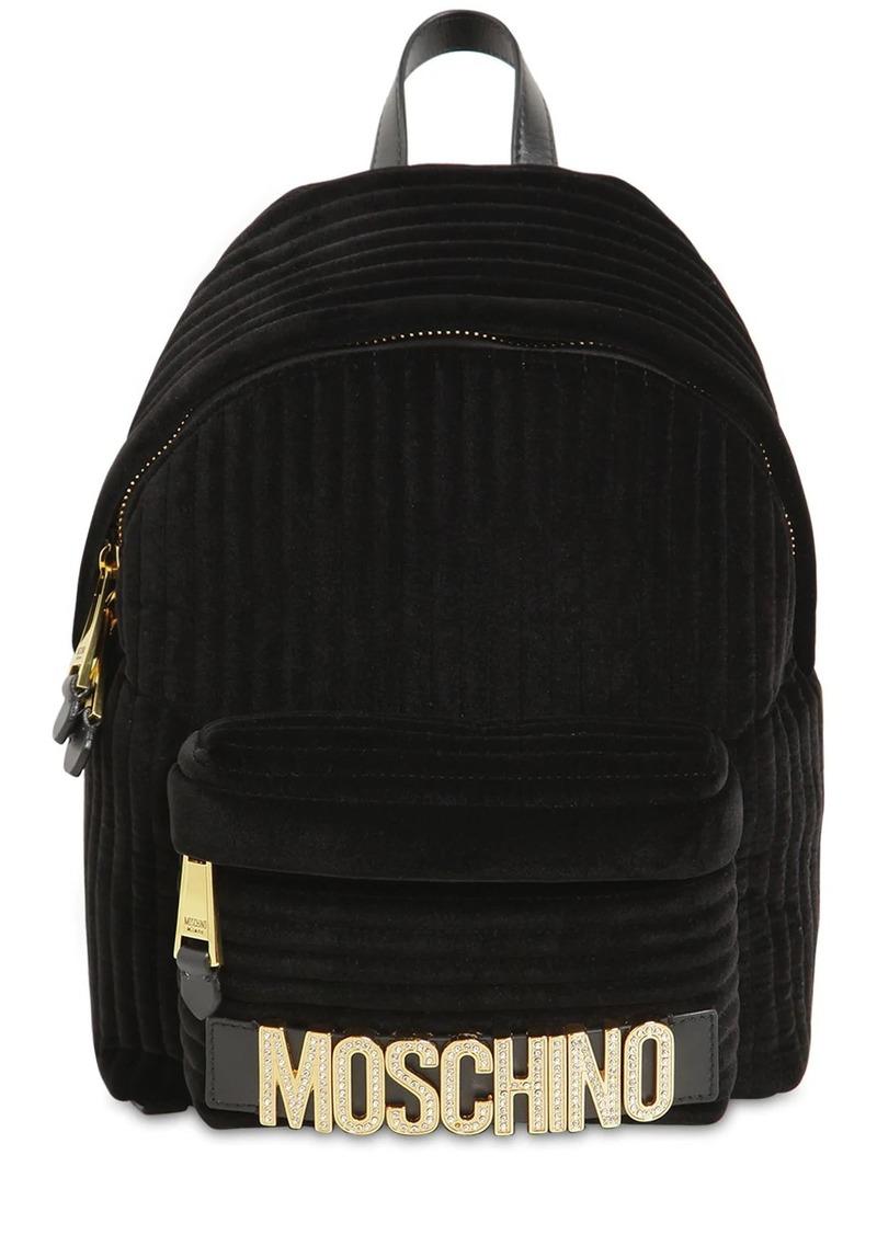 Moschino Crystal Logo Velvet Backpack