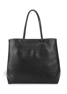 Moschino Debossed Logo Leather Tote