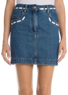 Moschino Denim Topstitch Mini Skirt