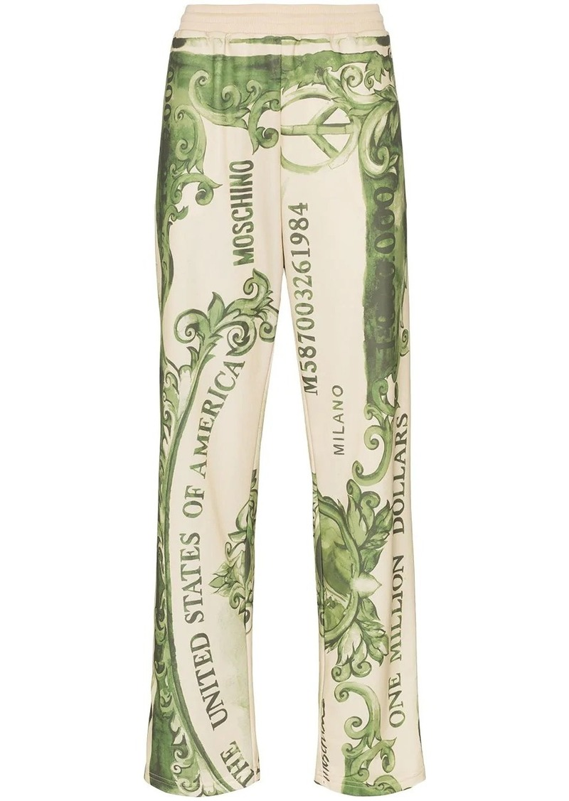 Moschino dollar bill logo print track pants