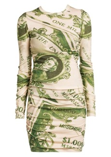 Moschino Dollar Print Wool Long-Sleeve Mini Dress