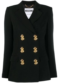Moschino dollar sign double-breasted blazer