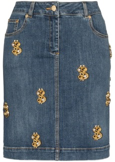 Moschino dollar sign-embellished denim skirt