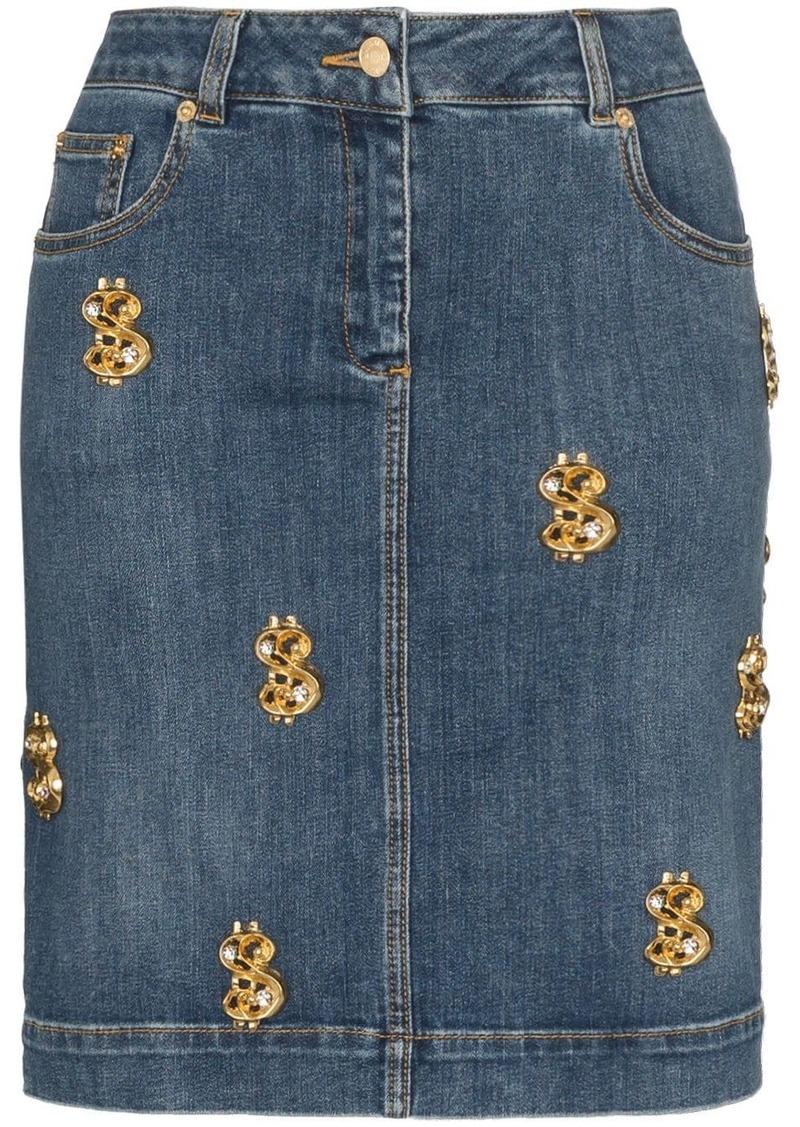 Moschino dollar sign-embellished denim skirt