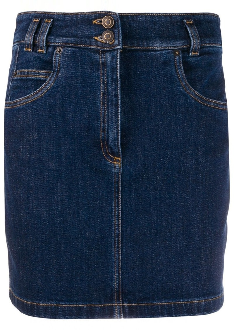 Moschino double button denim skirt