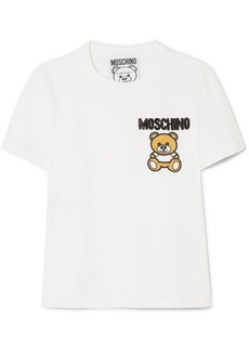 Moschino Embellished Appliquéd Cotton-jersey T-shirt