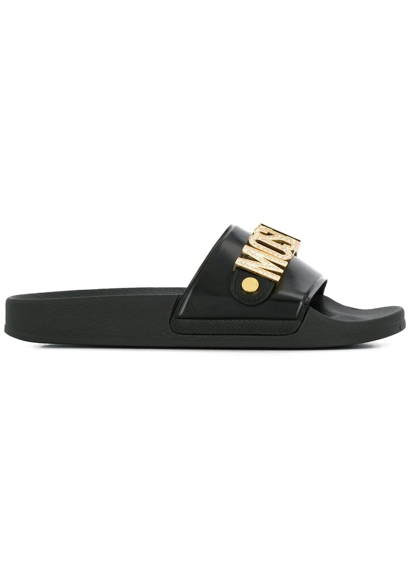 Moschino embellished logo slide sandals